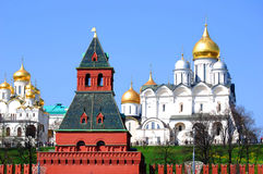 Old orthodox churches, blue sky background. Royalty Free Stock Image