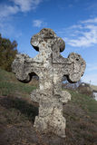 Old orthodox cross near the Cathedral of the Transfiguration of the Saviour Royalty Free Stock Photo