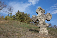 Old orthodox cross near the Cathedral of the Transfiguration of the Saviour Royalty Free Stock Photos