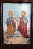 Old orthodox Icon of the apostles Saint Peter and Saint Paul. Image of a Stock Photography