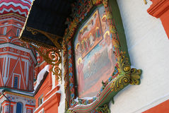 Old orthodox icon on the facade of St. Basil Cathedral Royalty Free Stock Images