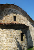 Old orthodox small stone church. Old orthodox small village stone church, back side stock photography