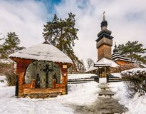 Old orthodox wooden church in winter. Location Museum of Folk Architecture and Life, Uzhgorod Stock Image