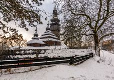 Old orthodox wooden church in winter. Location Museum of Folk Architecture and Life, Uzhgorod Stock Photography
