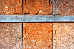 Old osb Plywood wall Stock Photo