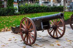 Old ottoman cannon in city of Bursa. Old ottoman cannon exibited on the overlook of the city of Bursa Royalty Free Stock Images