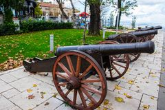 Old ottoman cannons in city of Bursa. Old ottoman cannons exibited on the overlook of the city of Bursa Royalty Free Stock Photo