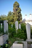 Old Ottoman graves in the Eyüp Cemetery in Istanbul royalty free stock photo