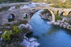 The Old Ottoman Mesi Bridge in Shkoder royalty free stock image