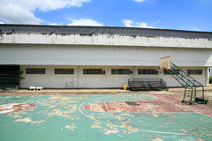 Old outdoor basketball court against blue sky Royalty Free Stock Image
