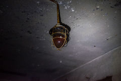 Old outdoor lamp, cut out. The old lamp hangs on the ceiling in an abandoned military bunker stock photo