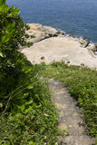 Old outdoor stone stairs in Yehliu park leading to the coastline Stock Image