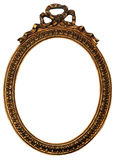 Old Oval Gold Wood Mirror Frame with Ornaments Stock Photo
