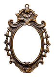 Old Oval Golden  Frame, Isolated on White Royalty Free Stock Image