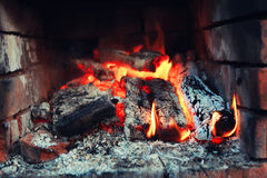 Old oven with flame fire Stock Photography