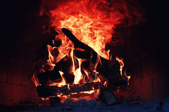 Old oven with flame fire Royalty Free Stock Images