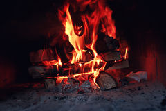 Old oven with flame fire Royalty Free Stock Photos