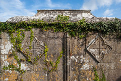 Old overgrown Celtic tomb background Stock Photo