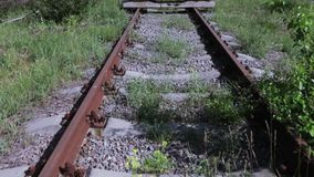 Overgrown with plants railway. Old and overgrown with grass and trees railway stock video
