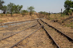 Old overgrown used railway tracks intersection merge Royalty Free Stock Photo