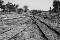 Old overgrown used railway tracks intersection merge artistic co Royalty Free Stock Photos