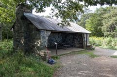 Hiker`s Shelter in the Blue Ridge Mountains. royalty free stock image