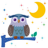 Old owl against a star night sky stock illustration