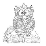 Old Owl on books- hand drawn doodle vector Royalty Free Stock Photography