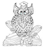 Old Owl  on books- hand drawn doodle vector Stock Images