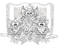 Old Owl  on tree branch with small owls. Stock Images