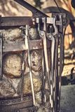 Old and oxide tools in a farm.  royalty free stock photography