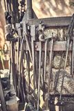 Old and oxide tools in a farm.  stock photo