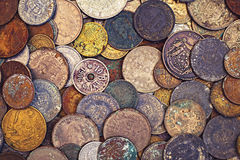 Old oxidised coins. Of different nationalities from different periods, top view Stock Photography