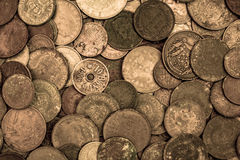 Old oxidised coins of different nationalities from different periods. Top view Stock Photo