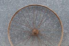 Old oxidized and damaged bicycle wheels Stock Image