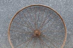 Old oxidized and damaged bicycle wheels Stock Image