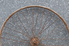 Old oxidized and damaged bicycle wheels Royalty Free Stock Photo