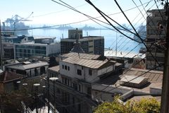 Old Pacific seaport city of Valparaiso, World Heritage Site and cultural capital of Chile. The colonial city of Valparaíso, Chile, enjoyed a privileged status stock images