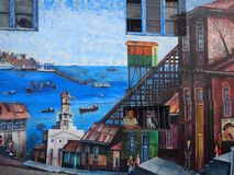 Old Pacific seaport city of Valparaiso, World Heritage Site and cultural capital of Chile. The colonial city of Valparaíso, Chile, enjoyed a privileged status stock photo