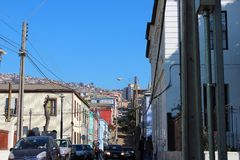 Old Pacific seaport city of Valparaiso, World Heritage Site and cultural capital of Chile. The colonial city of Valparaíso, Chile, enjoyed a privileged status stock photography