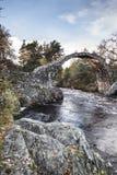 Old packhorse bridge at Carr-bridge in Scotland. Old packhorse bridge on the river Dulnain at Carr-bridge in Scotland royalty free stock images