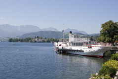 Old paddle steamer on lake traunsee Royalty Free Stock Photo