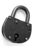 Old padlock. Old black door padlock on white Stock Images