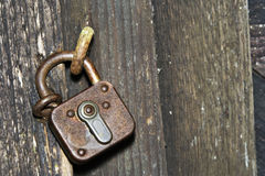 Old padlock. On a wooden door royalty free stock image