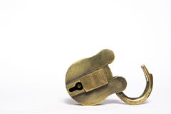 Old Padlock. Old brass padlock isolated on a white background Royalty Free Stock Photos