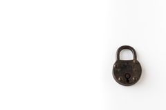 Old padlock / black lock isolated on white background with copy Stock Photos