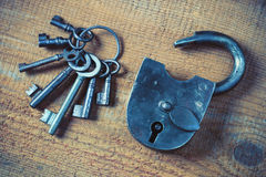 Old padlock and a bunch of keys Stock Image