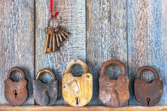 Old padlock and bunch of keys Royalty Free Stock Image