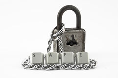 Safe spelled, chain and padlock Stock Photos