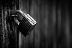 Old padlock. Ensures an old shed Stock Photos